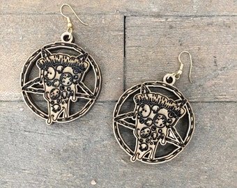 Pizza Pentagram Wood Earrings - Brooklyn Witch