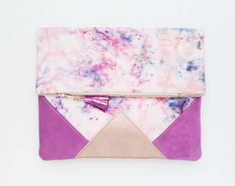 FESTIVE 18 / Hand colored cotton & Natural leather fold over clutch bag wih leather tassel - Ready to Ship