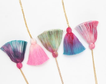 WILD HEART 6 / Simple dyed tassel everyday necklace -Choose your color - Ready to Ship