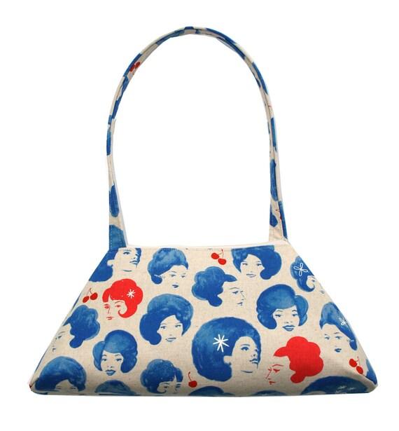 Vintage ladies, blue, vintage inspired, retro style, tote