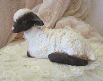 Vintage Black Face Sheep Lamb Statue Porcelain Bisque