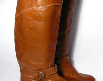 Vintage Knee High Leather Riding Boot Women size 8