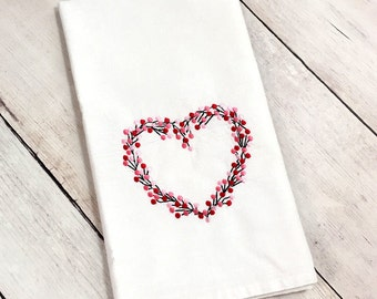 Heart Flour Sack Towel - Heart Cotton Towel -  Wreath Heart Towel - Heart Kitchen Towel - Kitchen Towel - Heart Dish Towel - Dish Towel