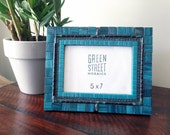 Teal Mosaic Picture Frame, 5 x 7 Ready to Ship, Housewarming Gift Idea