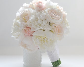 Peony Bouquet, Ivory Peony Bouquet, Blush Peony Bouquet, Peony Bouquet, Silk Peony Bouquet, Wedding Bouquet, Bridal Bouquet, Silk Flowers