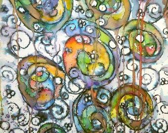 "ORIGINAL watercolor and ink painting,not a print. ""Happy Swirls"" FREE SHIPPING"