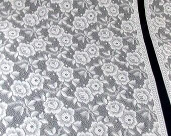 SALE Vintage White Lace Curtains  7 pc. 2 Windows +