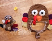 BUNDLE Instant Download Pattern Tompkin the Turkey and Baby Hat Crochet Set Thanksgiving