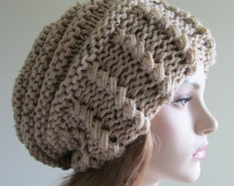 Slouchy Beanie Slouch Hats Oversized Baggy Beret womens fall winter accessory Beige Super Chunky Hand Made Knit