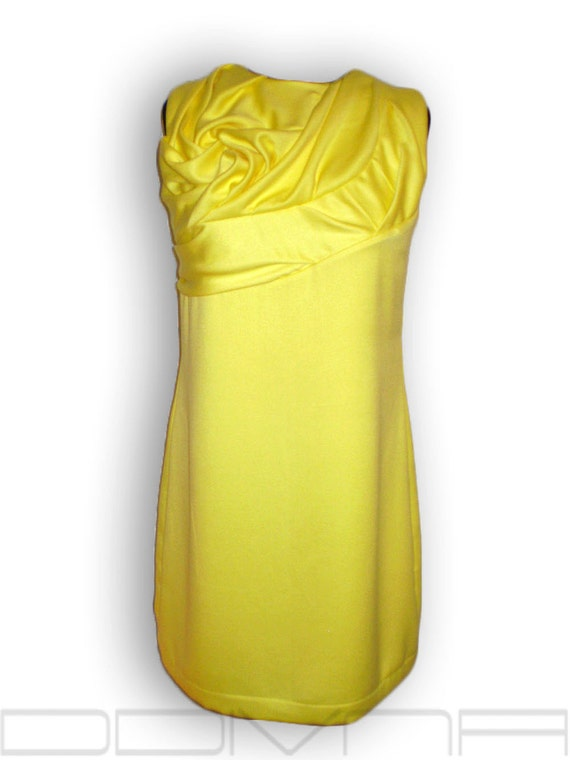 yellow cashmere dress tunic unique draping*  FREE shipping*