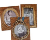 Antique French Three  Miniature Frames  Late 1800's gilded metal.