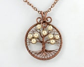 Tree-Of-Life Pendant with White Glass Pearls Copper Wire Wrapped Necklace Pearls Pendant June Birthstone Talisman Amylet Rustic Wedding Boho