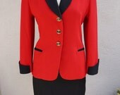 Vintage Bright Red Blazer with Black Trim, Red and Black High Waisted Skirt Suit Set, Red Suit, Clueless, Preppy Blazer and Skirt Set
