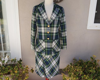 Vintage Green Plaid Skirt and Blazer Set, White and Green Plaid Blazer, Clueless, Preppy, Wool Plaid Suit Set, Mid Length High Waisted Skirt