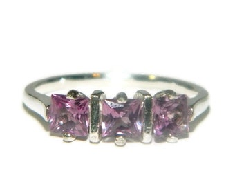 Lab Created Alexandrite Ring, Ring With Three Stones, Sterling Silver Ring, Princess Cut Ring
