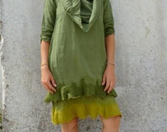 Green tunic ~ Hand felted ~ Smock dress ~ Natural ~ Elegant ~ Elfnfelt
