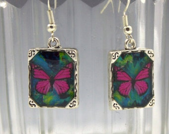 Pink Butterfly Earrings Silver 3D Dimensional Picture Square Dark Green