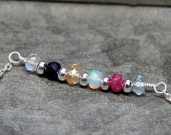 Grandmother necklace, birthstone family necklace, mothers bar necklace, 3 4 5 6 7 8 9 kids, multi birthstone, large family