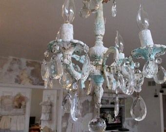 Petite chandelier lighting shabby cottage chic ornate aqua sea glass beachy fixture painted distressed w/ crystals decor anita spero design