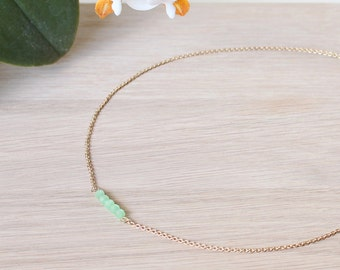 Mint crystal necklace with gilded chain 24K for women