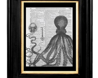 "Octopus Print "" Lock and Key"",Romance Print, Love Print-Mixed Media Art Print 8x10 Vintage Dictionary page, Dictionary art,Marine Life,Ocean"