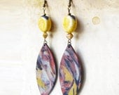 earthy rustic earring / earth color yellow brown / Urban jewelry / artisanal ceramic and polymer clay