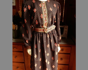 Vintage 60s 70s Lady Carol of New York Flourish Military Classy Secretary Dress M L