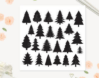 Pine Clip art, Tree Digital clipart, Festive Christmas Tree, Xmas, pine tree, Christmas - Commercial & Personal - Instant Download