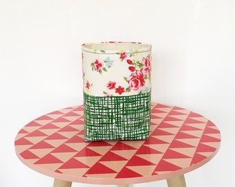 Fabric storage bin - retro style roses and crosshatch fabric - green and pink - storage basket - gift for mum