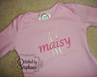 Custom personalized monogrammed hot pink name on white initial light pink baby girl gown with ruffled sleeves