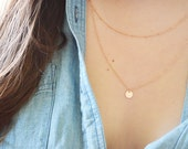 Rose Gold Filled Disk Layered Necklace - Initial Necklace - Layering Personalized Jewelry - Layering Necklace - Monogram Satellite Chain