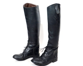 Vintage Black Leather Equestrian Riding Boots Size 10 R