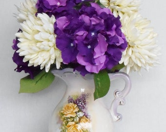 Artificial Flower Arrangement, Cream Football Mums, Purple Hydrangea, Floral Vase, Silk Flower Arrangement, Silk Floral Home Decor, Decor,