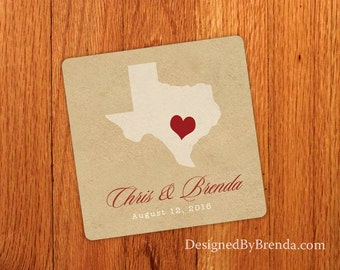 Vintage Style Wedding Favor Coasters with State on Rustic Kraft Background - Inexpensive Paper Coaster - Names and Wedding Date - Any States