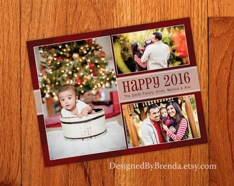 Happy 2016 New Year's Photo Card - Can also be Holiday or Christmas Card - Red with 3 Photos - Any Colors - Belated or Late Christmas Card
