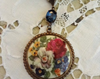 Mori Girl Vintage Cameo Necklace, Montana Blue Sapphire Pendant, Gypsy Rose Cameo Necklace, Assemblage Necklace, Bertha Louise Designs
