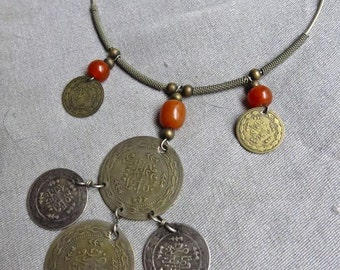 70s Silver Hippie Torque Ring Necklace / Choker with Coins and Amber Beads