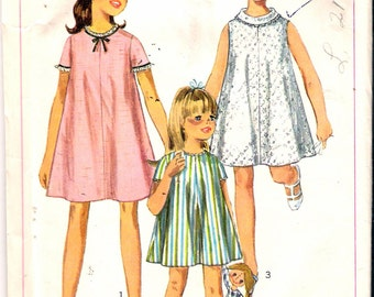 Vintage 1967 Simplicity 7038 Girls One-Piece Tent Dress Sewing Pattern Size 8 Breast 26""