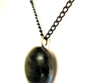 Gothic Necklace - Goth Jewelry - Black Pendant- Goth Necklace - Blue Pendant - Handmade Necklace - Halloween Jewelry - Gothic Jewelry