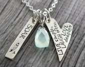 Inspirational Necklace, Heart Necklace, Chalcedony Gemstone, Hand Stamped, Personalized,Positive Jewelry, Motivational Necklace, Inspiration