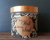 Scripture Jar with 48 memory verses, Hostess Gift, Bible gift ideas, It is Well with my Soul, Day gift, Get Well, Verse Gift, Black Damask