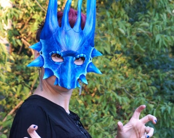 Leather Dragon Mask. Icy Blue and White Dragon Mask!  Halloween, LARP costume, Theater Prop, Garb, Accessory, Animal Mask, Fantasy Mask