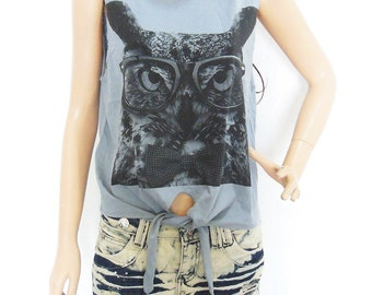 Owl GlassT Shirt  Owl Crop Top Owl tshirt teen shirt fresh top summer shirt Women Fashion Funny Tank Top Tee Shirt Screen Print Size M