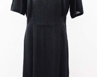 1940s Black Crepe Rayon Day Dress with Embellished Shoulders