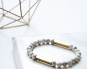 White marble & brass bracelet.