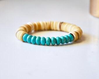Turquoise Stone Bracelet Mala: Coconut Shell Beads + Turquoise Howlite Semi-Precious Gemstones, Friendship Bracelet, Yoga Mala, Boho Jewelry