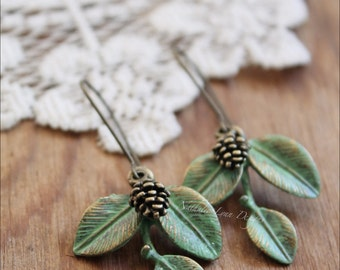 Pine Cone Earrings, Leaf Earrings, Tree Branch Earrings, Woodland Earrings, Dangle Earrings