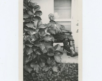 Daddy, with Cigar, Fallbrook, 1953 Vintage Snapshot Photo (66478)