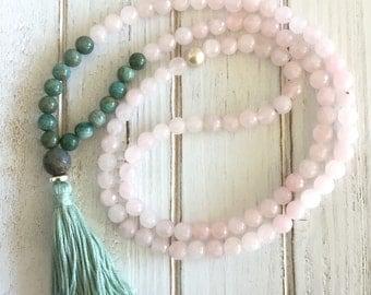 Loving Mala Rose quartz and jade mala beads; mala beads; tassel necklace