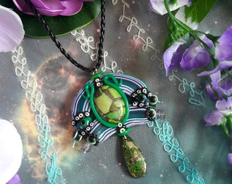 Cosmic goddess multicolored crystal necklace